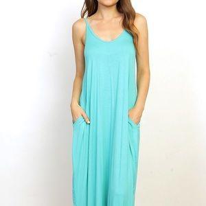 Aqua Maxi Dress with Pockets